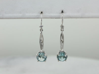 Blue Zircon Drop Earrings Made with Vintage Components