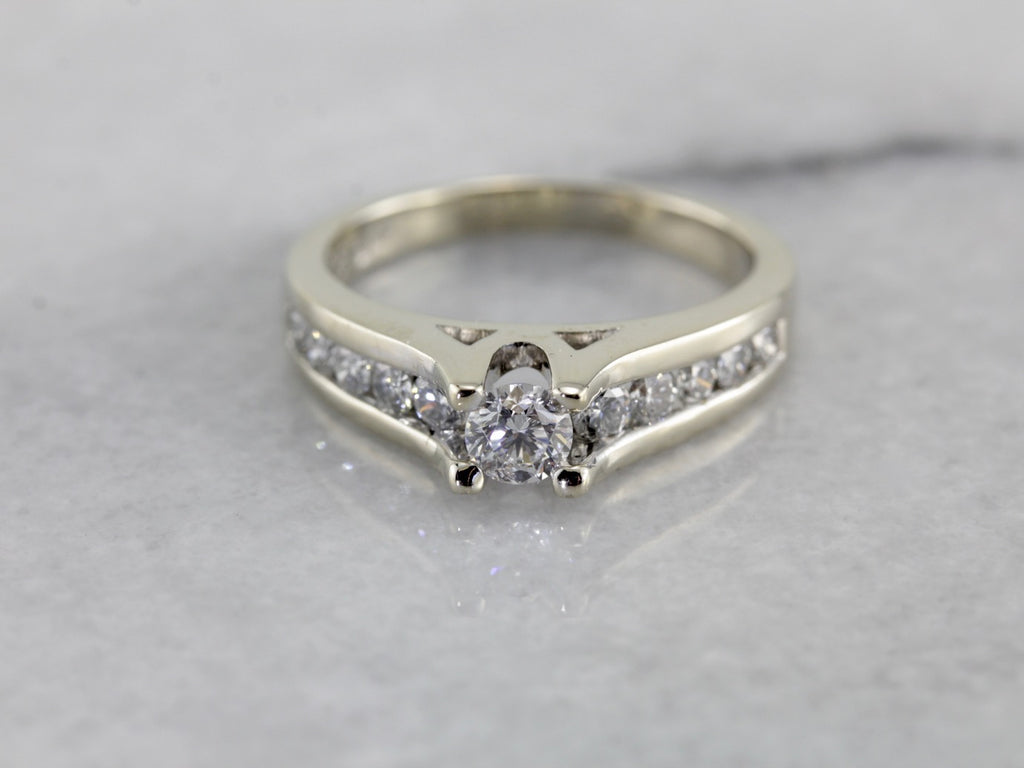 Contemporary Diamond Engagement Ring in White Gold