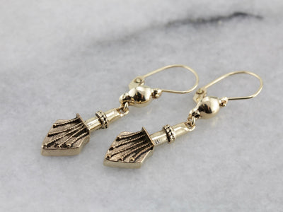 Drop Earrings in Yellow Gold, Made with Antique Parts