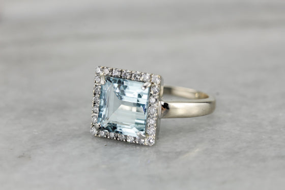 RESERVED for Layaway - Superior Aquamarine and Diamond Halo Ring in White Gold