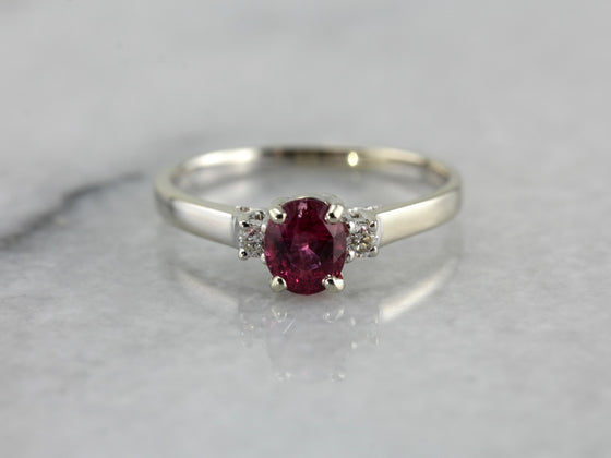Pink Tourmaline and Diamond Anniversary or Engagement Ring