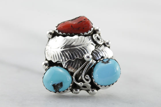 Vintage Turquoise and Coral Statement Ring, Double Blue Turquoise Leaf Ring for Ladies, Cocktail Ring, Native American  LVF4YV
