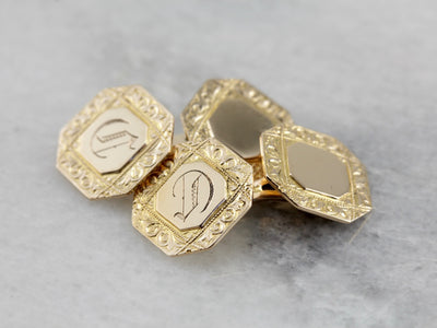 Old English C Monogram Cufflinks with Engraved Border