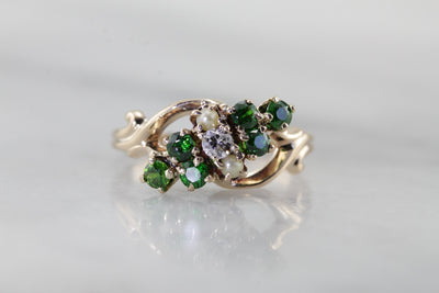 Victorian Dinner Ring with Demantoid Garnets, Diamond and Seed Pearls
