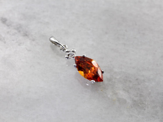 November Baby, Marquise Cut Citrine and Diamond Pendant