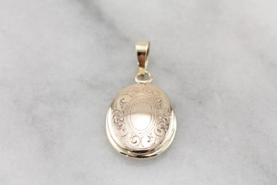 Floral Framed, Vintage Yellow Gold Oval Pendant