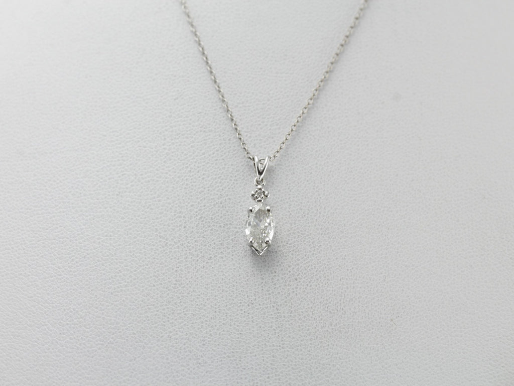 Flashing Marquise Diamond Drop Pendant in White Gold, Handmade and One of a Kind