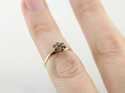 Antique Demantiod Garnet Buttercup Ring, Perfect Pinky or Midi Ring