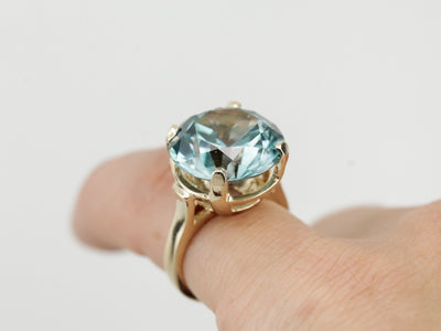 Exceptional Blue Zircon Statement Ring, Museum Quality Gemstone