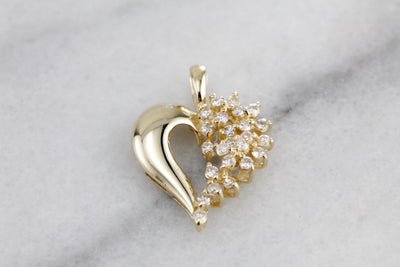 Diamond Waterfall of Love, Diamond Heart Pendant, Anniversary Pendant in Yellow Gold, Polished Pendant