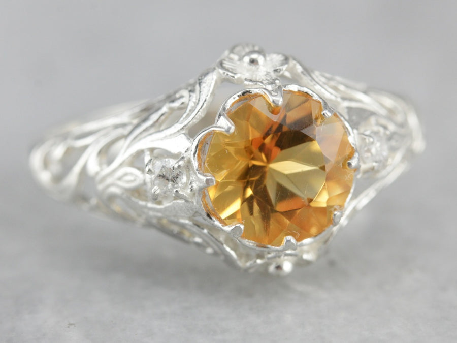 Citrine and Diamond Filigree Ring