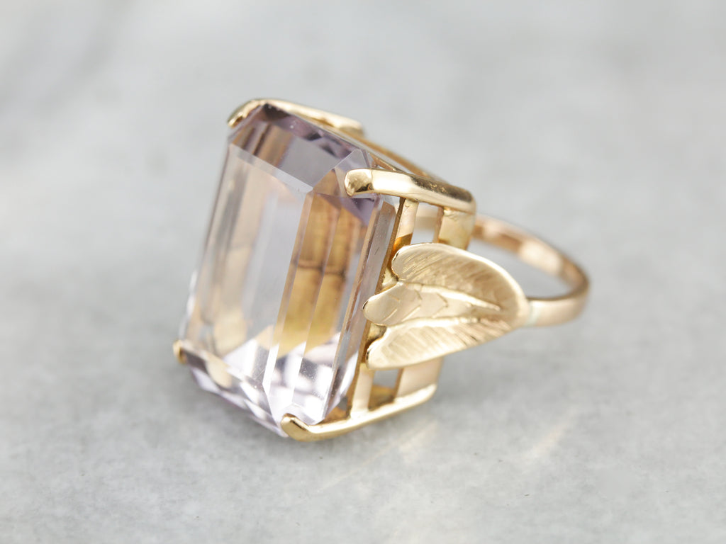 Pale Hued Statement Ring, Large Amethyst Cocktail Ring with Leafy Details