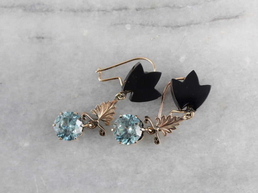 Antique Rose Gold Leaf Motif Drops, Blue Zircon and Black Onyx Drop Earrings