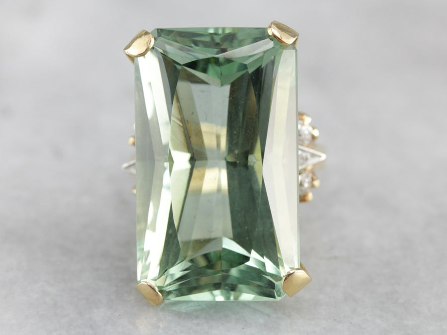 Incredibly RARE 49.66ct Green Beryl in Retro Era Cocktail Ring