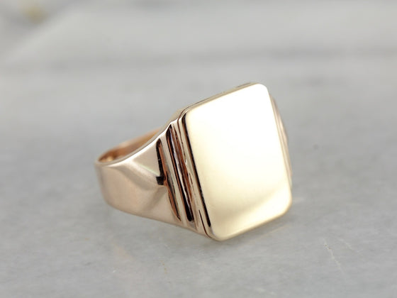 Hefty Soft Rose Gold Signet Ring