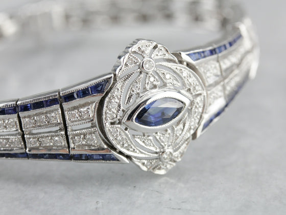 Vintage Art Deco Reproduction Sapphire and Diamond Bracelet