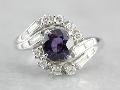 Our Finest Purple Sapphire: Ceylon Sapphire and Vintage Platinum & Diamond Ring, Cocktail Ring, Engagement Ring, Wedding Ring