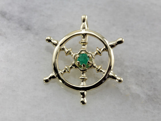 Captain's Wheel, Nautical Emerald Pendant for Him or Her