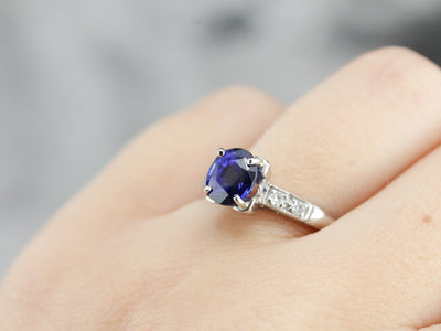 Our Finest Sapphire and Diamond Engagement Ring in Bright Platinum