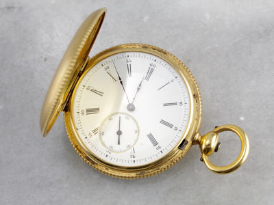Rare Breitling Laederich, 18K Yellow Gold and Enameled Hunter's Case Pocket Watch