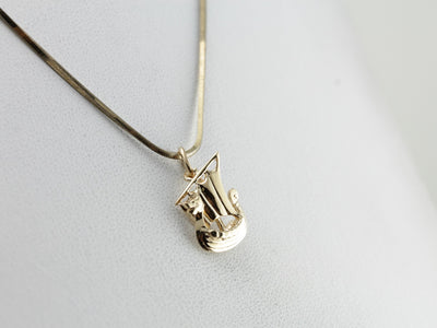 Vintage Viking Ship Charm in Yellow Gold, Classic Dragon Boat