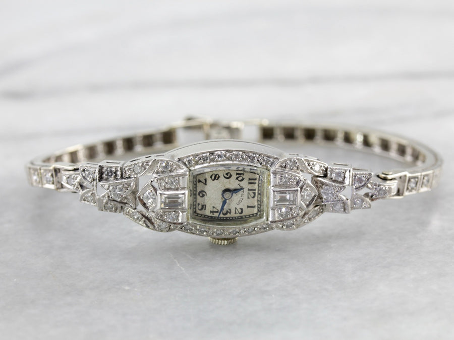 Vintage Ladies Wrist Watch by Hamilton Watch Co., Platinum and Diamond Watch