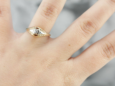 Vintage Two Tone Wide Design Engagement Ring