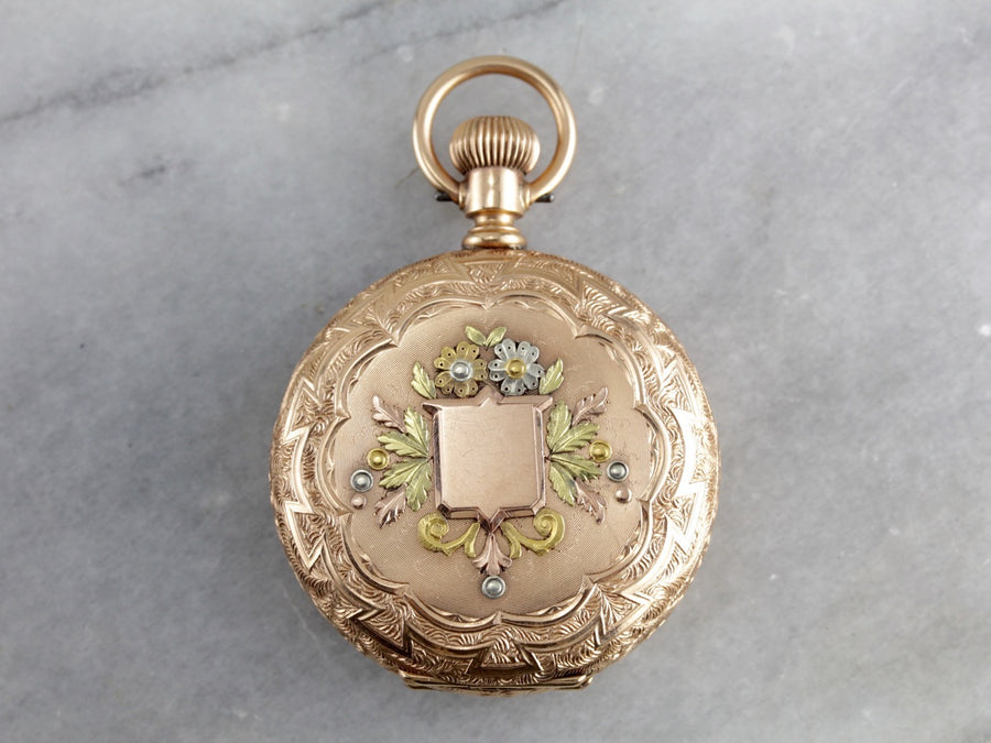 Stunning Waltham Ornate Hunter's Case, Seaside Pocket Watch, Decorated in Four Shades of Gold, Circa 1890