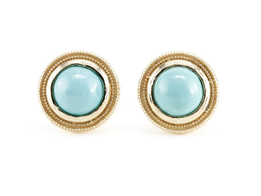Turquoise Gold Stud Nellie Earrings by Elizabeth Henry