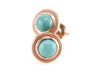 The Nellie Turquoise and Rose Gold Stud Earrings by Elizabeth Henry