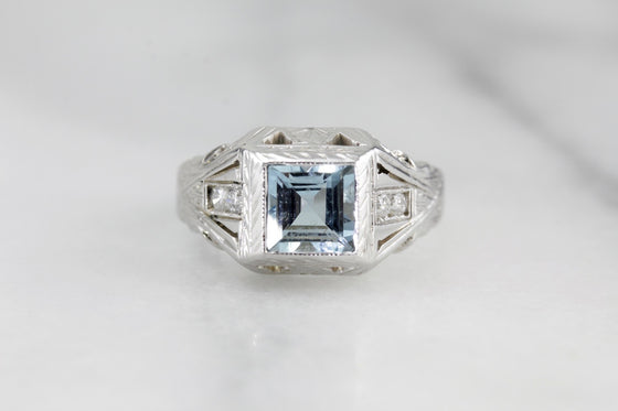Men's Art Deco Aquamarine and Diamond Statement Ring  D4LKRZ