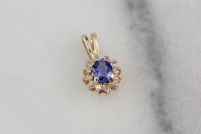 The Perfect Anniversary Gift: Classic Sapphire and Diamond Halo Pendant in Yellow Gold, Lady Diana Style