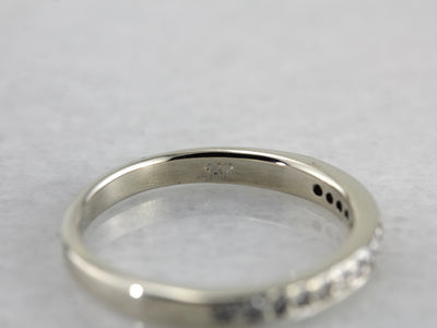 Pave Set Diamond Wedding Band with Flat Edges in White Gold