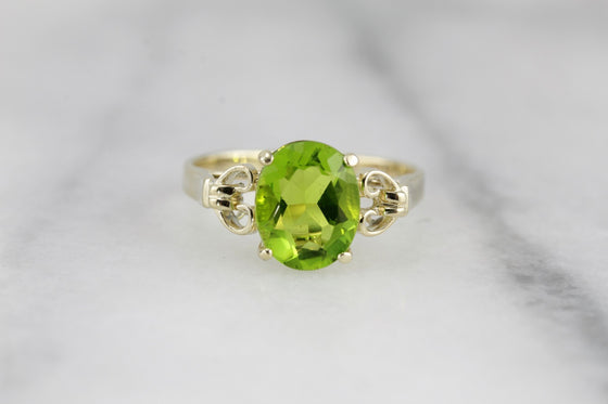 Sweetly Feminine Vintage Cocktail Ring with Intense Summer Green Peridot Gemstone, Large Solitiare