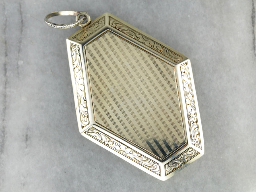 Art Nouveau Snuff Box Gold Locket Pendant