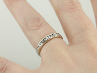 Channel Set Diamond Wedding Band with Wheat and Milgrain Engraved Details