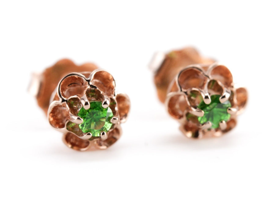The Honeycomb Demantoid Garnet Stud Earrings by Elizabeth Henry