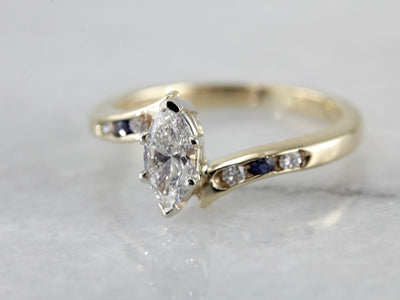 Marquise Diamond Bypass Engagement Ring