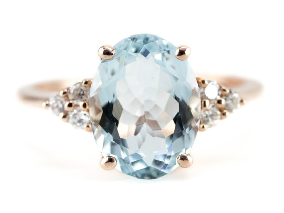 The Elnora Aquamarine Rose Gold Ring by Elizabeth Henry