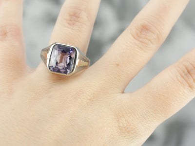 Art Deco Amethyst Glass White Gold Statement Ring