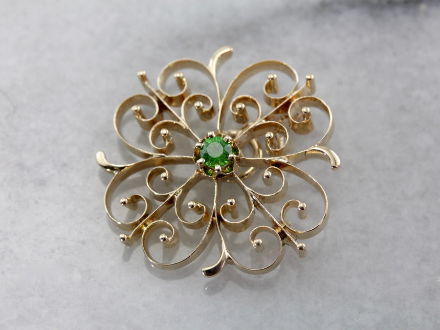 Scrolling and Swirling Demantoid Garnet Pendant