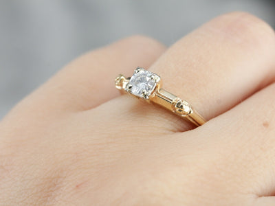 Retro Vintage Diamond Engagement Ring with Floral Details