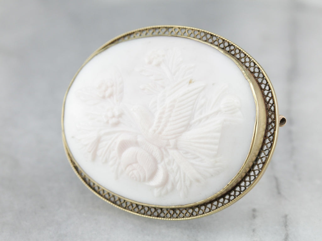 Exquisite Bird and Floral Bouquet Cameo Brooch