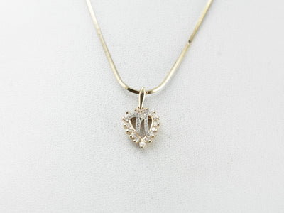 Diamond Heart Pendant with N Initial Center