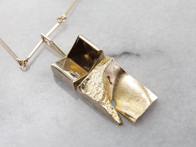 Finnish Modernist Necklace with Abstract Quartz Pendant