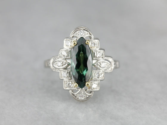 Outstanding Art Deco Cocktail Ring Upcycled with Gorgeous Teal Green Tourmaline