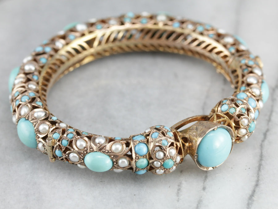 Vintage Indian Wedding Bangle with Turquoise and Pearls