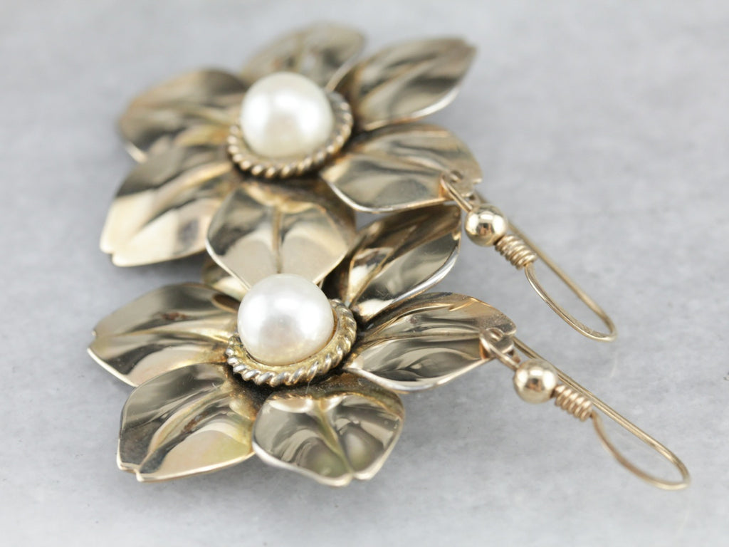 Retro Casual: Large Flower Bloom Earrings with Pearl Centers