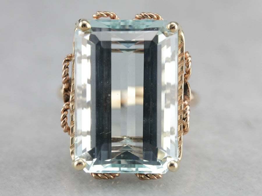 Powerful Powder Blue Statement, Aquamarine Cocktail Ring