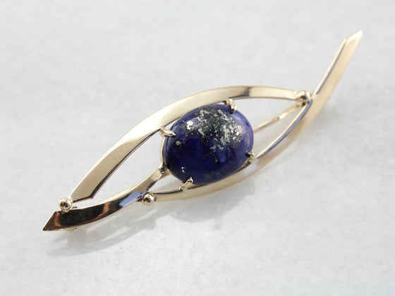 Sleek Lapis Brooch in Yellow Gold, Modernist and Abstract Pin